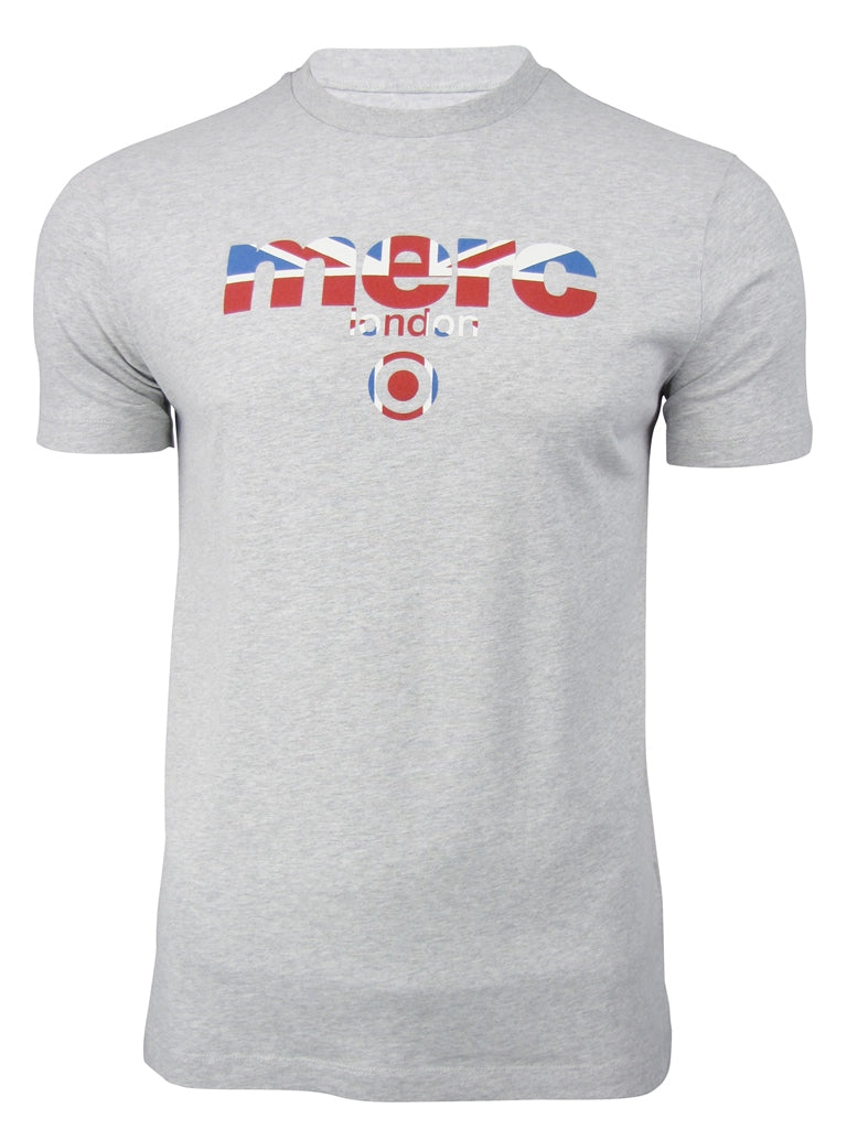 Mens Merc London T Shirt 'Broadwell' Raised Rubber Union Jack Print, 03, Broadwell