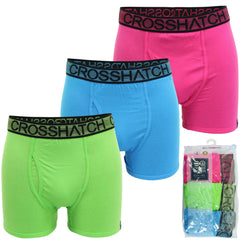 Mens Xplicit Crosshatch 3 Pack Boxer Shorts Underwear Trunks Stretch - Striking-Main Image
