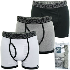 Mens Xplicit Crosshatch 3 Pack Boxer Shorts Underwear Trunks Stretch - Classico-Main Image