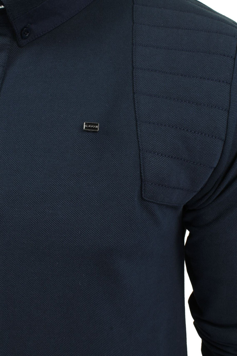 Mens Short Sleeved Polo Shirt from the Blackout Collection by Voi Jeans, 02, Dubb, #colour_Cole - Black Irish