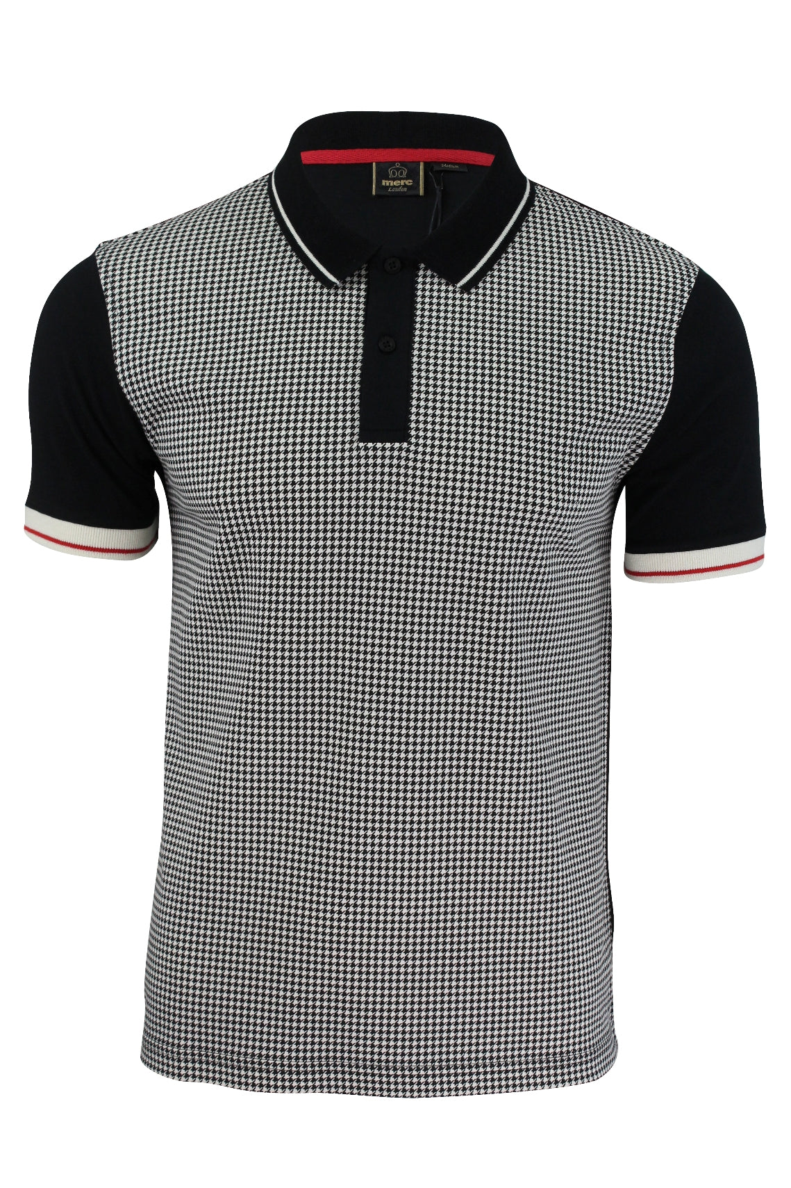 Mens Polo T-Shirt by Merc London 'Corona' Dog Tooth Front Short Sleeved-Main Image