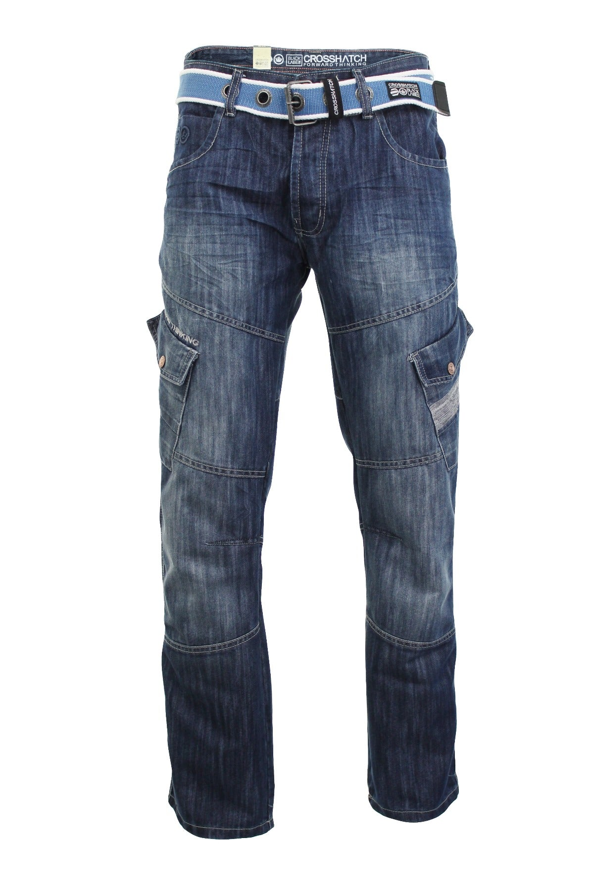 Mens Crosshatch 'Corona' Jeans Raw Stone Washed Denim Button Fly-2