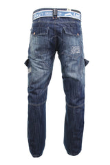 Mens Crosshatch 'Corona' Jeans Raw Stone Washed Denim Button Fly-Main Image
