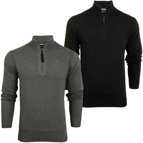Mens 1/4 Zip Neck Jumper by Duck and Cover 'Latitude'-Main Image