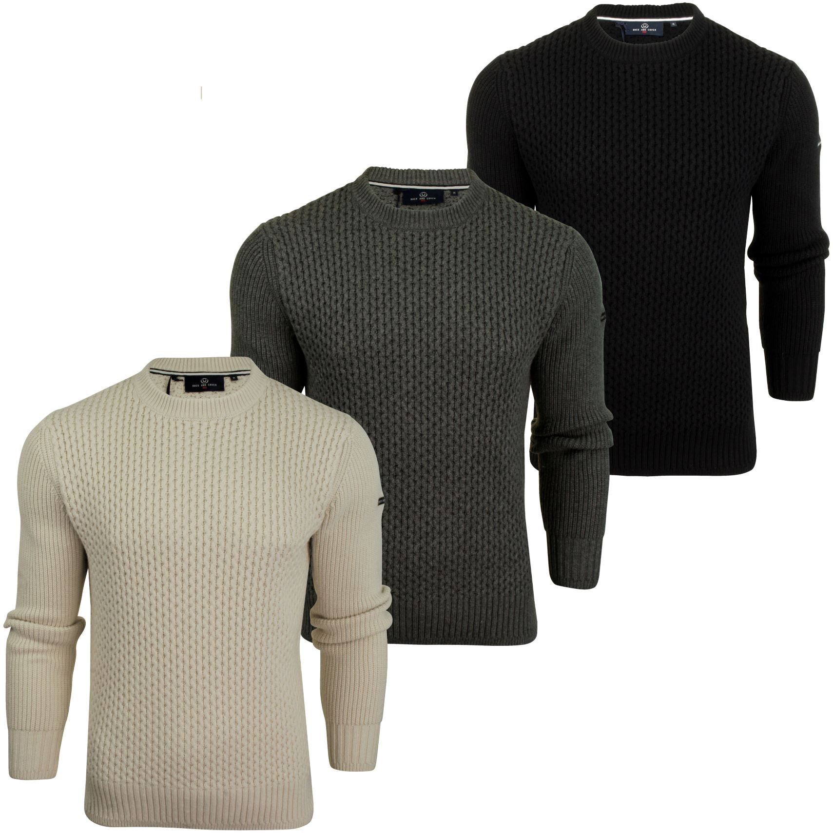 Mens Honeycombe Stitch Jumper by Duck and Cover 'Beam'-Main Image