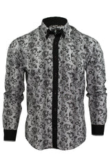 Mens Floral Shirt by Daniel Rosso High Button Down Collar Long Sleeved-Main Image
