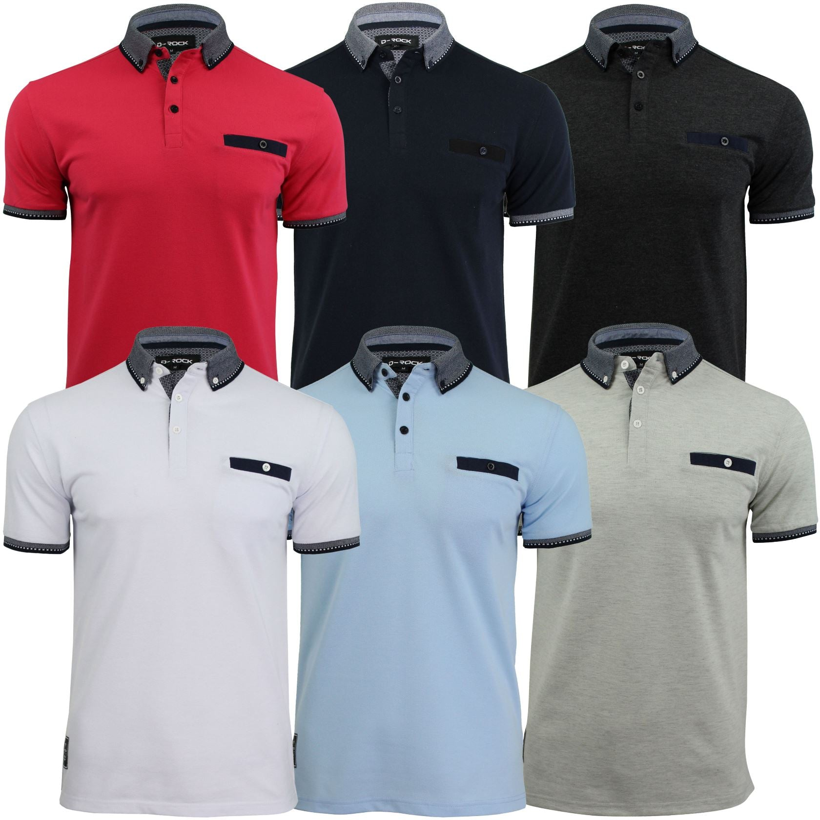 Mens Polo T-Shirt by D-Rock Button Collar Short Sleeved-Main Image