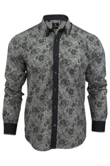 Mens Floral Shirt by Daniel Rosso High Button Down Collar Long Sleeved-2