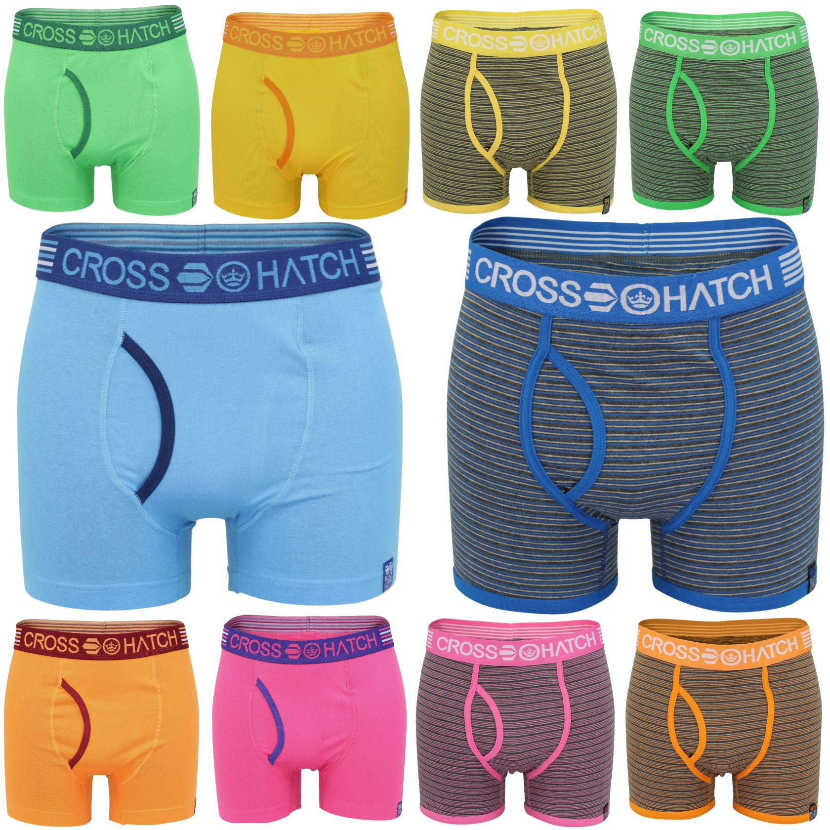 Mens Boxer Shorts Crosshatch Fireglow Bright Colours Underwear Trunks Stretch-Main Image