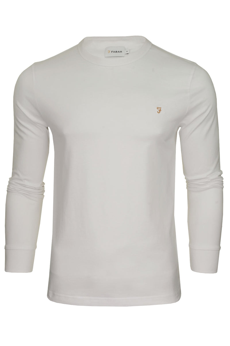 Farah Mens 'Worthington' Long Sleeved T-Shirt, 01, F4Ksb057, #colour_White