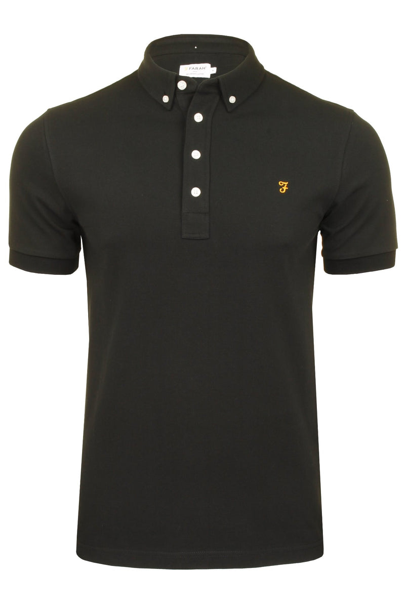 Farah Mens 'Ricky Polo' T-Shirt. Short Sleeved., 01, F4Ksb066, #colour_Black