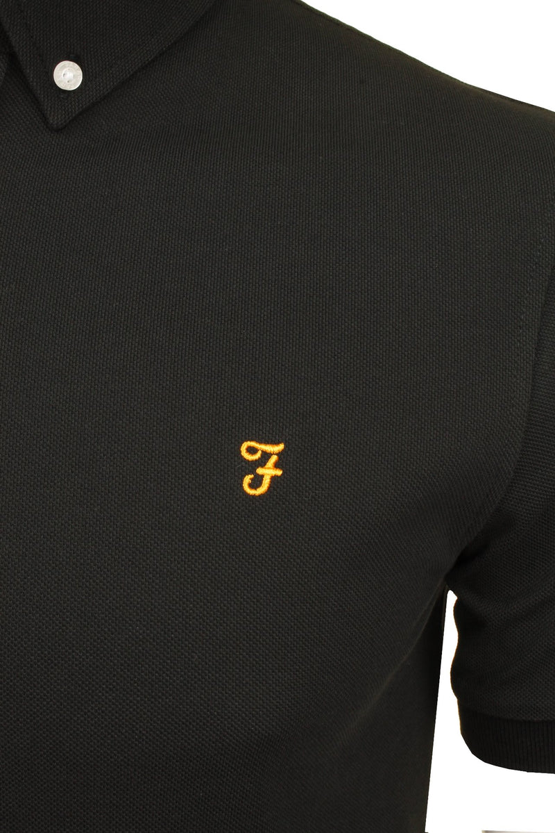Farah Mens 'Ricky Polo' T-Shirt. Short Sleeved., 02, F4Ksb066, #colour_Black