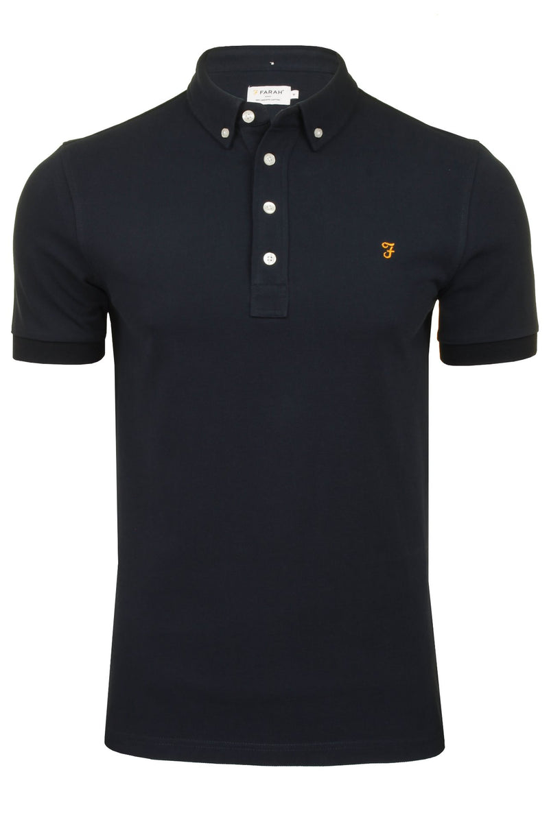 Farah Mens 'Ricky Polo' T-Shirt. Short Sleeved., 01, F4Ksb066, #colour_True Navy