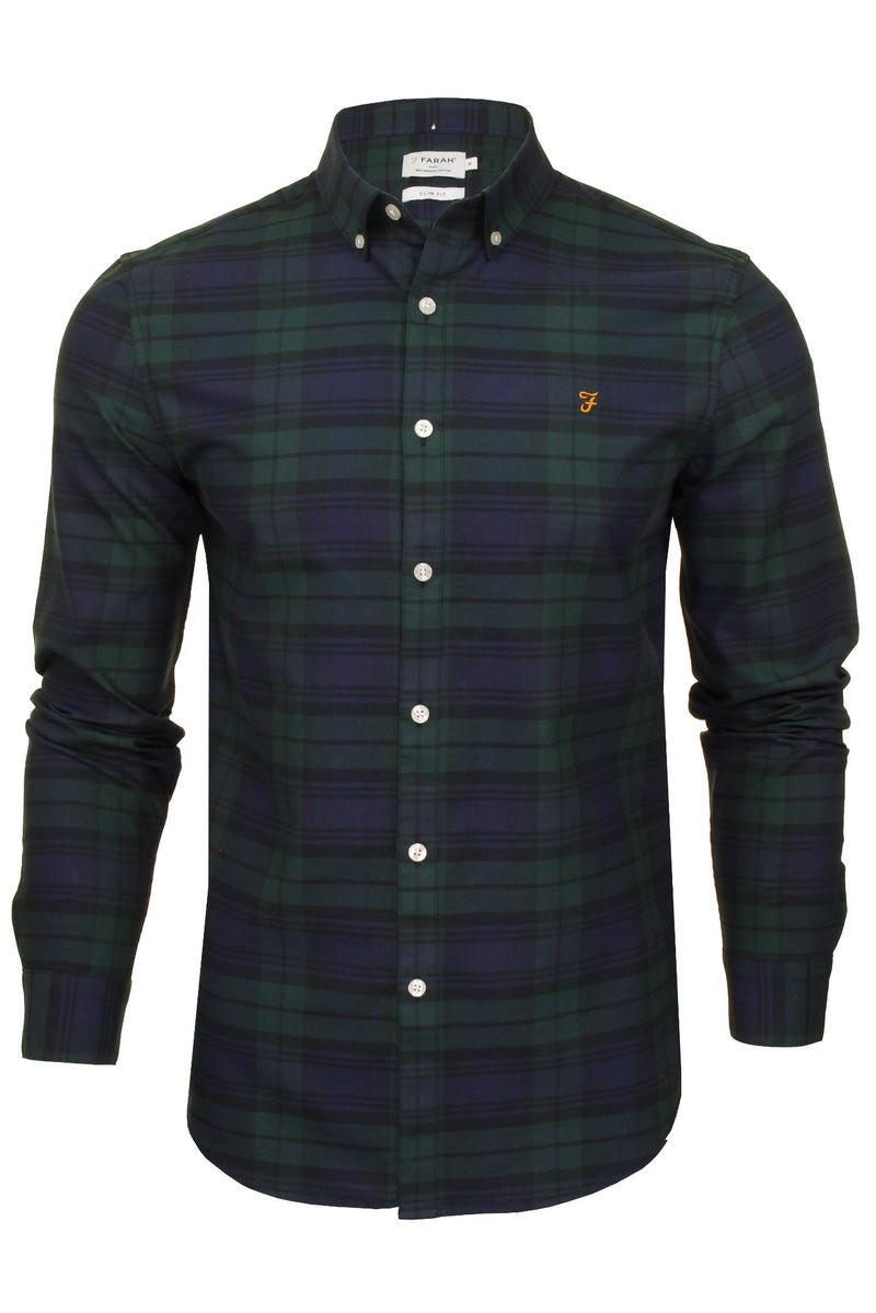 Farah Mens 'Brewer Check' Slim Fit Tartan Oxford Shirt. Long Sleeved, 01, F4Wsb069, #colour_Woodland Pine