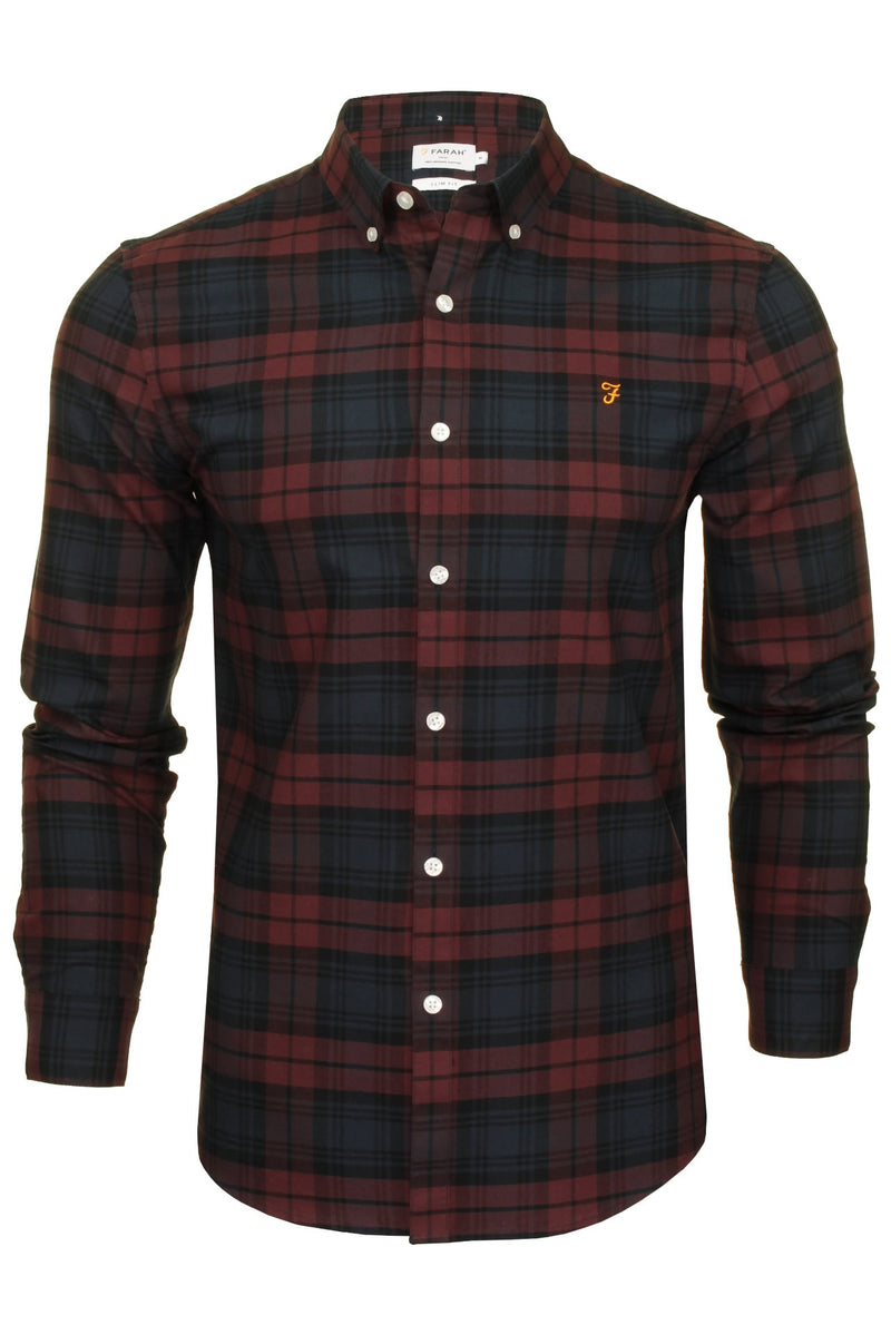 Farah Mens 'Brewer Check' Slim Fit Tartan Oxford Shirt. Long Sleeved, 01, F4Wsb069, #colour_Farah Red