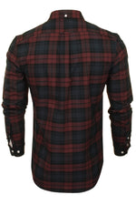 Farah Mens 'Brewer Check' Slim Fit Tartan Oxford Shirt. Long Sleeved, 03, F4Wsb069, #colour_Farah Red