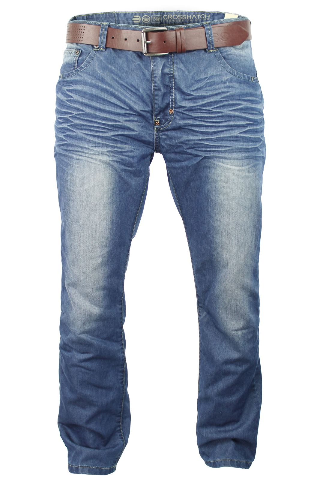 Mens Crosshatch Jeans Raw Stone Washed Denim Button Fly-2
