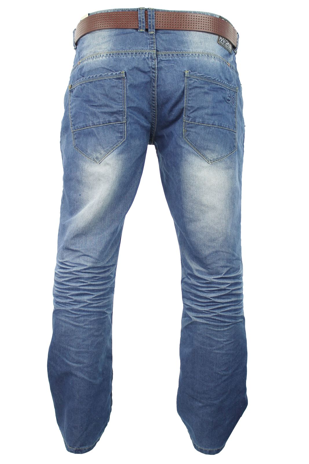 Mens Crosshatch Jeans Raw Stone Washed Denim Button Fly-3