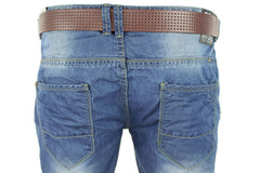 Mens Crosshatch Jeans Raw Stone Washed Denim Button Fly-4