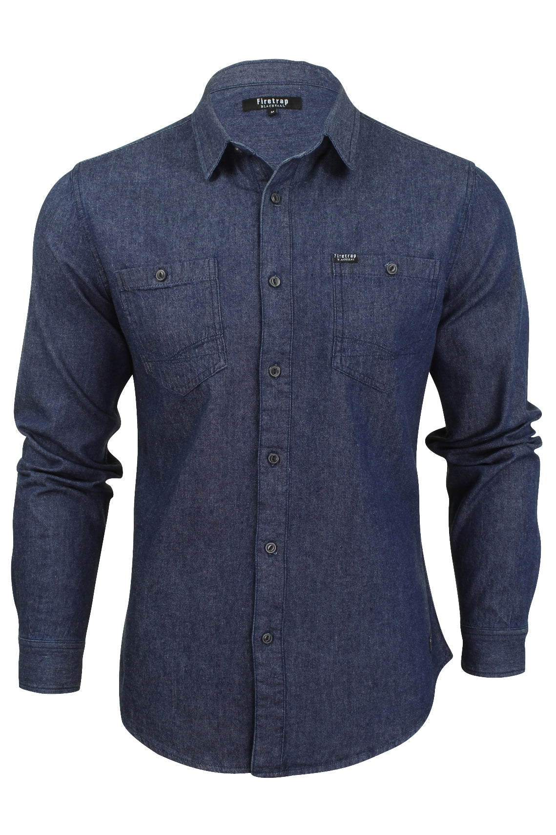 Mens Denim Shirt by Firetrap Western Vintage Wash Long Sleeve-Main Image