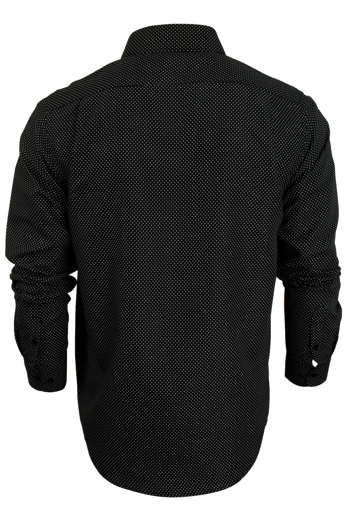 Mens Spotted Print Shirt by Process Black 'Cell' Long Sleeve Brave Soul_03_Msh-Pb475Cell_Jet Black