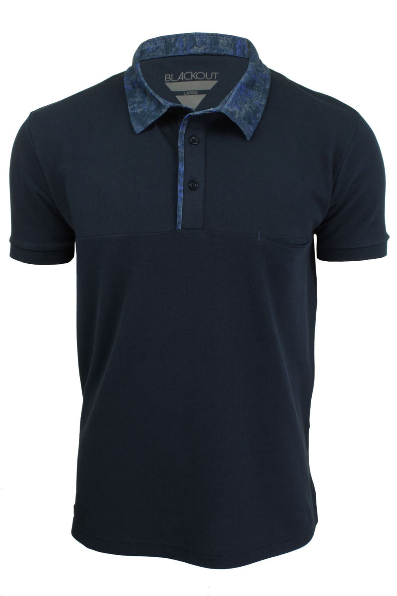 Mens Short Sleeved Polo Shirt from the Blackout Collection by Voi Jeans, 01, Dubb, #colour_Huston - Black Irish