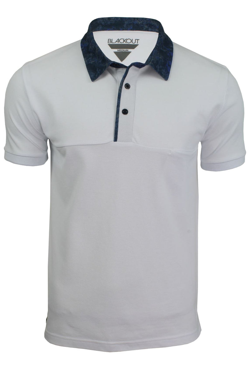 Mens Short Sleeved Polo Shirt from the Blackout Collection by Voi Jeans, 01, Dubb, #colour_Huston - White