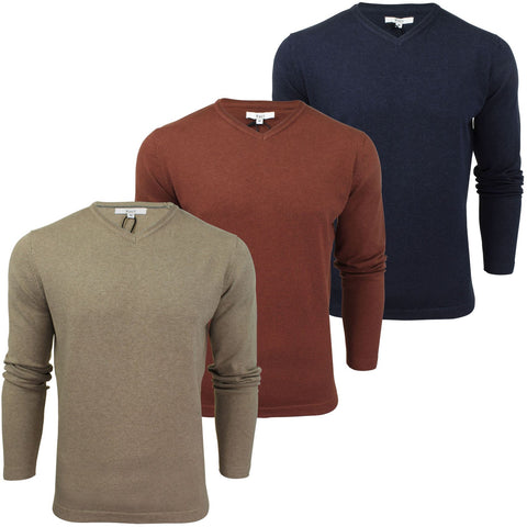Mens Jumper Cotton Rich V-Neck Marl  by Xact-Main Image