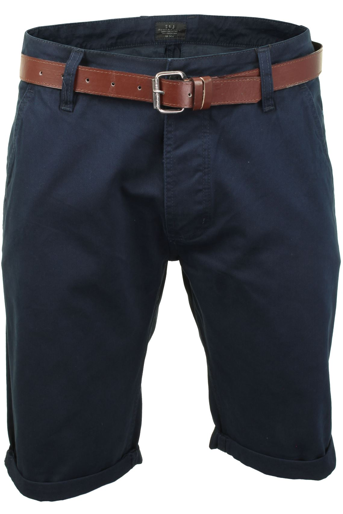 Mens Slim Fit Chino Shorts by Smith & Jones 'Inertia' Cotton Twill With Belt-Main Image