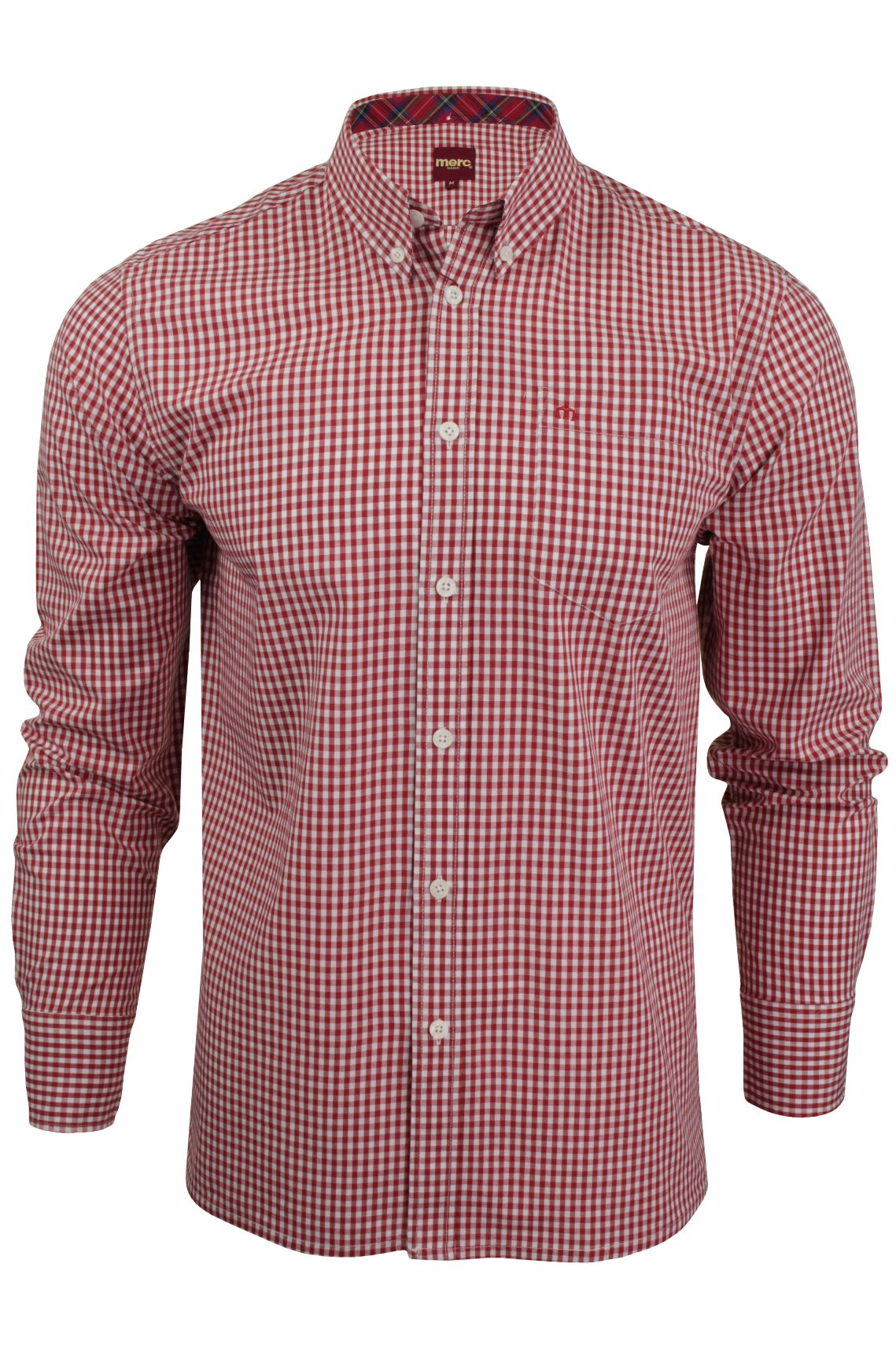 Mens Long Sleeved Gingham Shirt by Merc London 'Japster'_01_1506215Japster_Blood