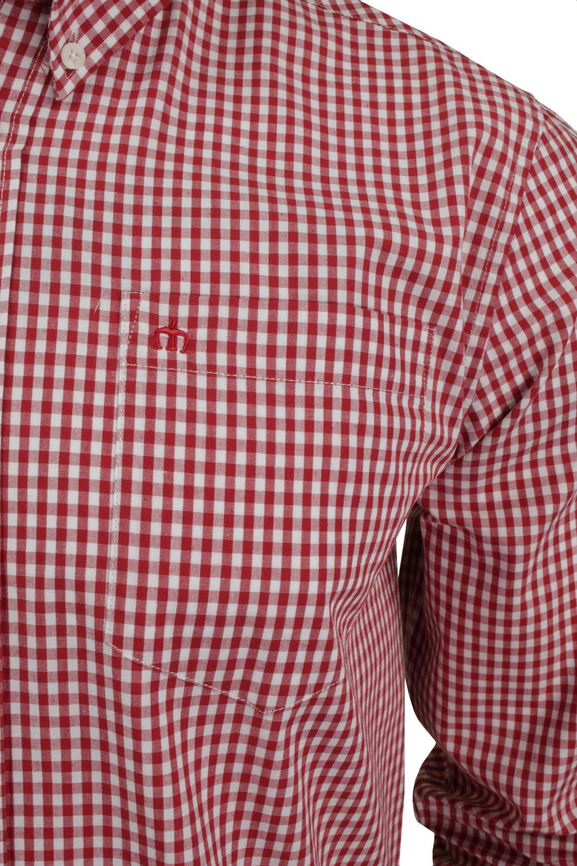 Mens Long Sleeved Gingham Shirt by Merc London 'Japster'_02_1506215Japster_Blood
