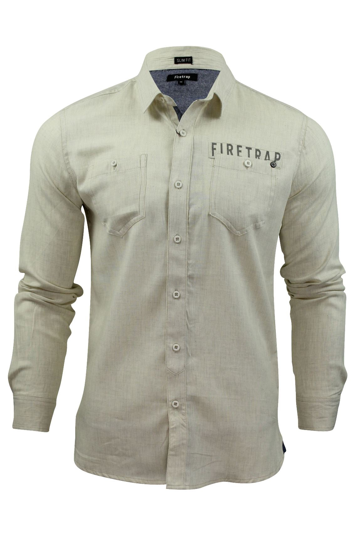 Mens Brushed Flannel Shirt by Firetrap Long Sleeved-Main Image
