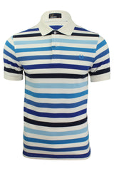 Mens Fred Perry Multi Stripe Polo T-Shirt S/S White/Blue-Main Image