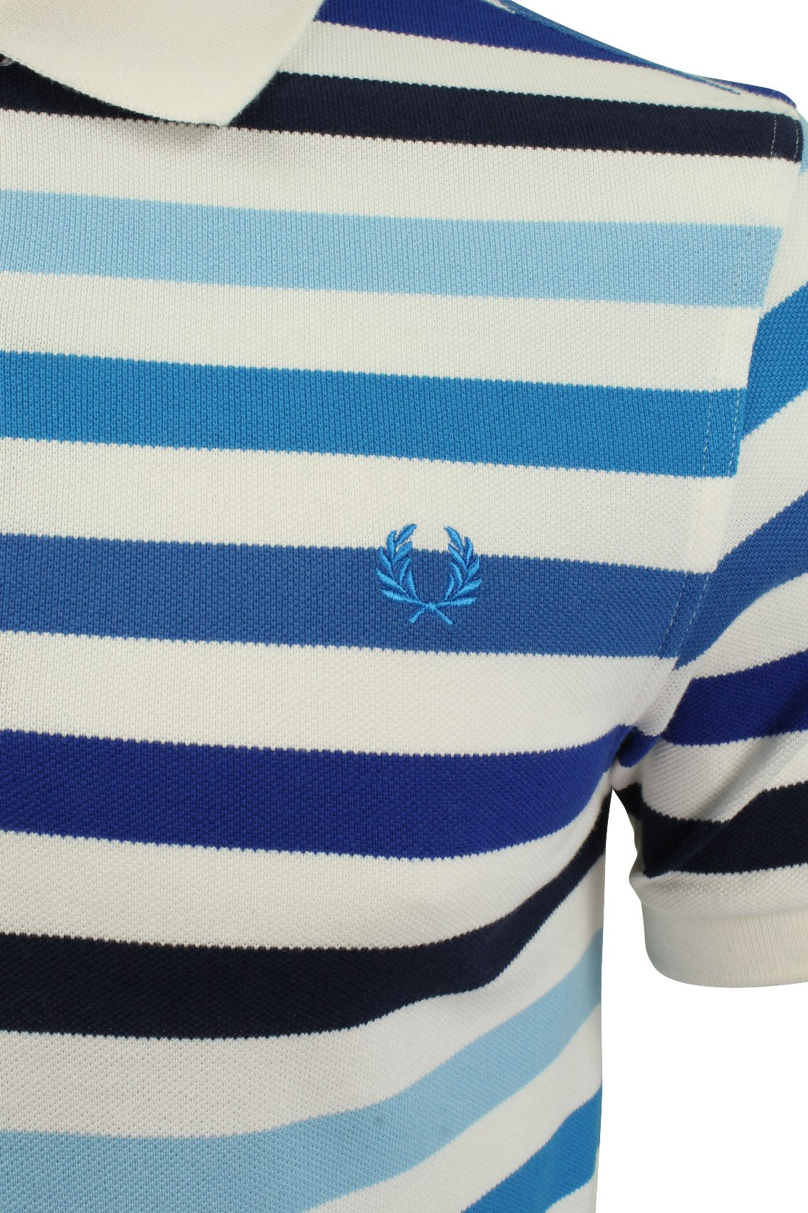 Fred Perry Multi Stripe Polo T-Shirt S/S White/Blue_..S-2