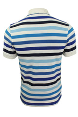 Fred Perry Multi Stripe Polo T-Shirt S/S White/Blue_..S-3