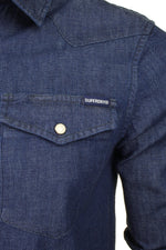 Superdry Mens Denim Shirt 'Resurrection Shirt' - Long Sleeved, 02, M4010120A, #colour_Dark Wash Worn