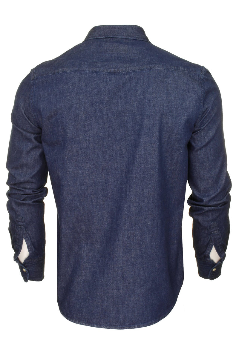 Superdry Mens Denim Shirt 'Resurrection Shirt' - Long Sleeved, 03, M4010120A, #colour_Dark Wash Worn