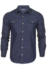 Superdry Mens Denim Shirt 'Resurrection Shirt' - Long Sleeved, 01, M4010120A, #colour_Dark Wash Worn