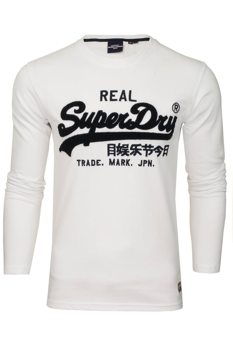 Superdry Men's 'Vintage Label Chenille' T-Shirt - Long Sleeved, 01, M6010459A, #colour_Optic