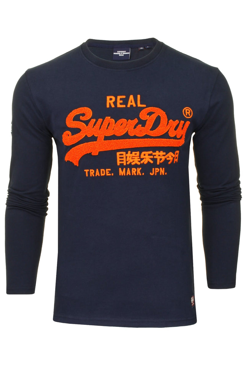 Superdry Men's 'Vintage Label Chenille' T-Shirt - Long Sleeved, 01, M6010459A, #colour_Nautical Navy