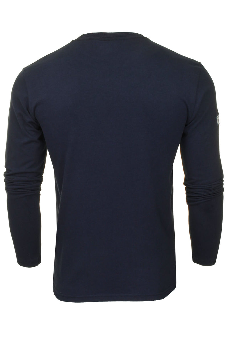 Superdry Men's 'Vintage Label Chenille' T-Shirt - Long Sleeved, 03, M6010459A, #colour_Nautical Navy