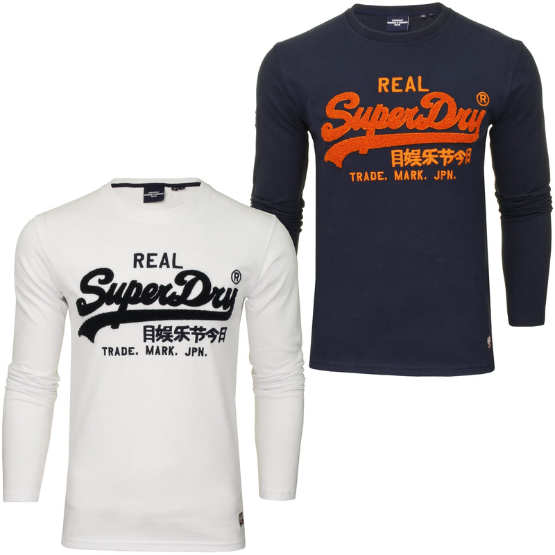 Superdry Men's 'Vintage Label Chenille' T-Shirt - Long Sleeved, 01, M6010459A