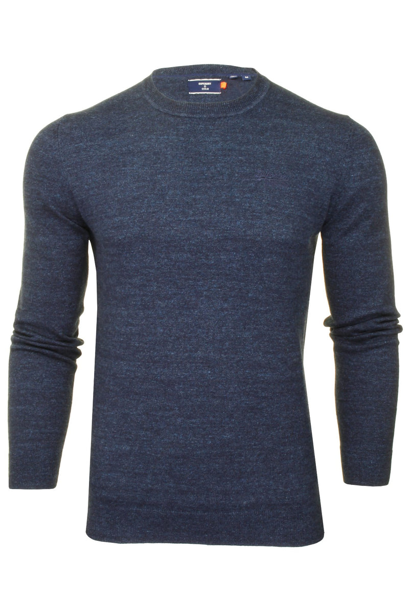 Superdry Mens Crew Neck Jumper 'Orange Label Crew', 01, M6110082A, #colour_Nightwatch Navy Grit