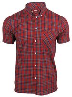 Merc London Men's 'Mack' Tartan Check Shirt - Short Sleeved, 01, MACK, #colour_Red