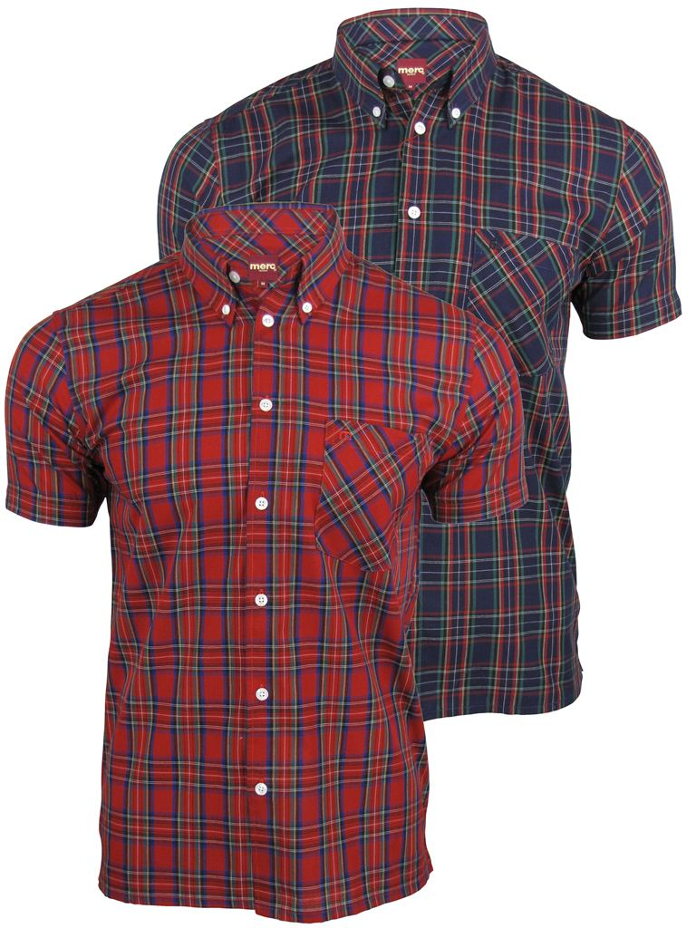 Merc London Men's 'Mack' Tartan Check Shirt - Short Sleeved, 01, MACK