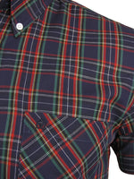 Merc London Men's 'Mack' Tartan Check Shirt - Short Sleeved, 03, MACK, #colour_Navy