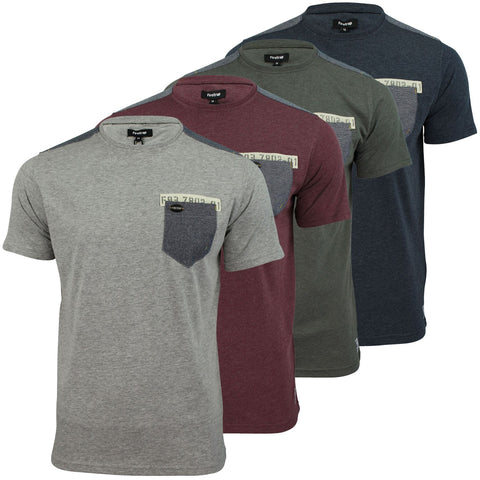 Mens T Shirt Firetrap 'Macklin' Space-Dye Marl Crew Neck Jersey Top Chest Pocket-Main Image