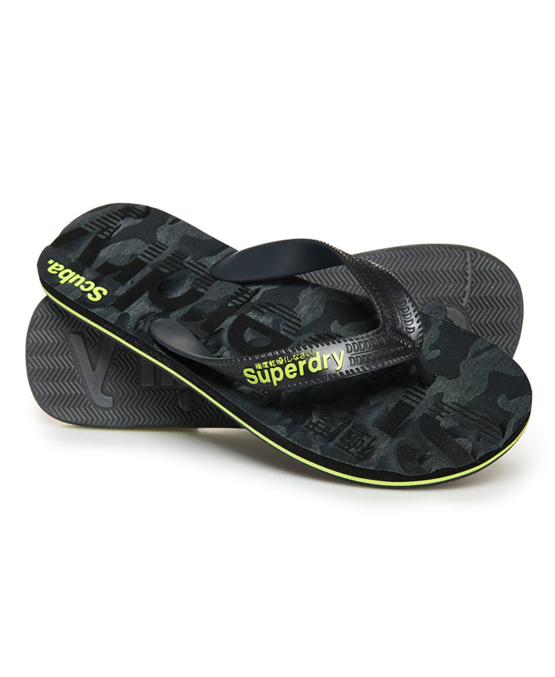 Superdry 'Scuba Faded Logo'    Mens Flip Flops, 01, Mf3105, #colour_Black Camo/ Black/ Fluro Lime
