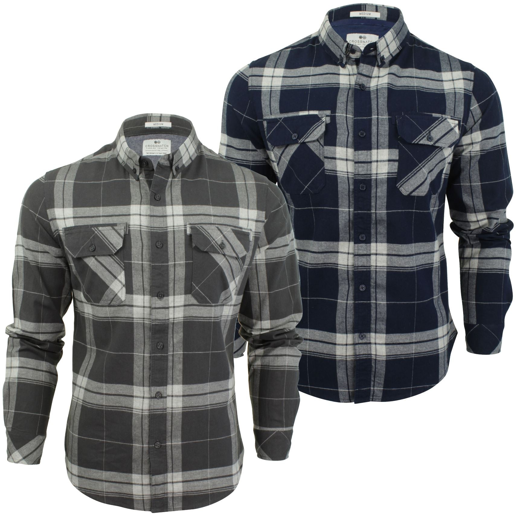 Mens Check Shirt by Crosshatch 'Mitty' Long Sleeved-Main Image