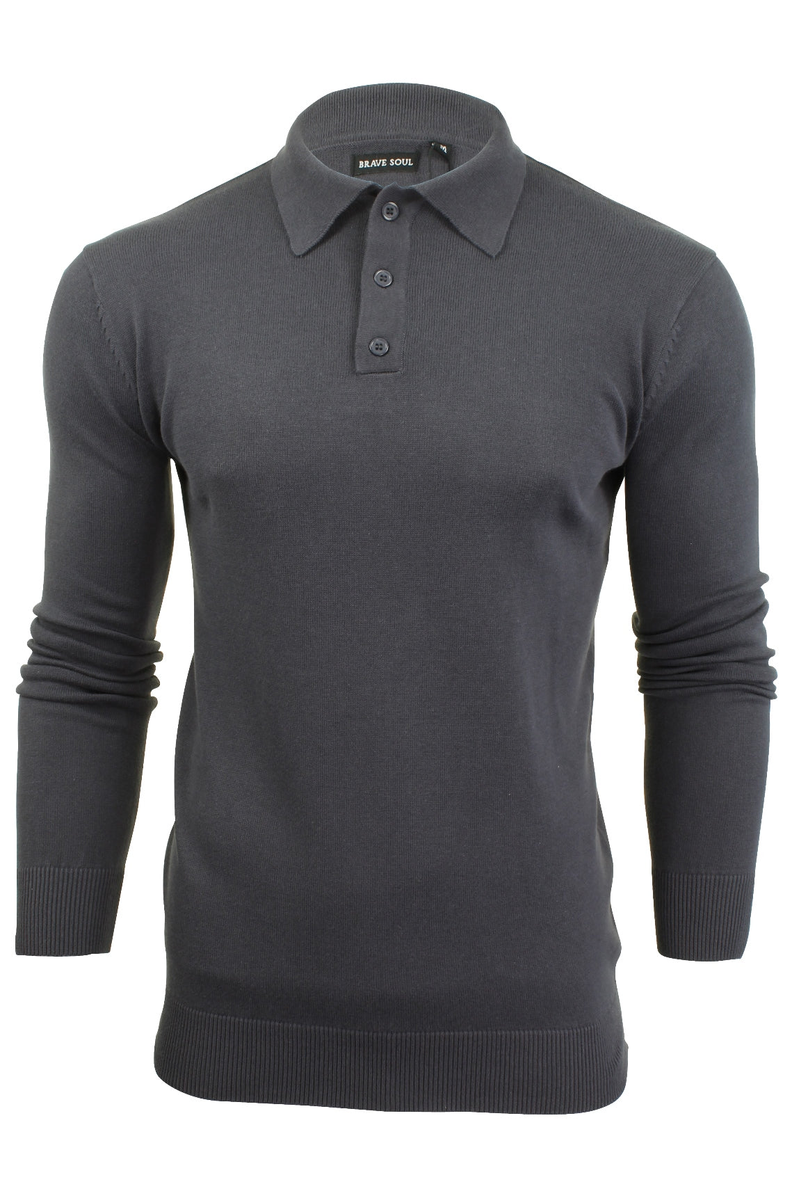 Mens Knitted Polo Shirt by Brave Soul Long Sleeved-2